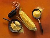 Black corn, cornflour and polenta