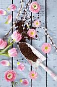 Collage aus Blüten von Tulpe, Ranunkel und Primel mit Kätzchenweide und Handschaufel