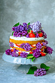Sponge cake with cream and strawberries, decorated with lilac on a gray stand