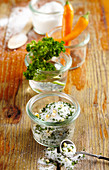 Homemade spicy parsley salt for grilled meat, salad dressings and vegetable dishes