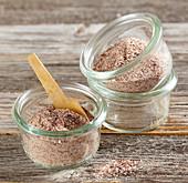 Beetroot salt mixture on a wooden surface