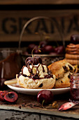 Black Forest Cream Tea - Chocolate Chip Scone, cherry jam, clotted cream and chocolate sauce