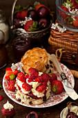 Chocolate Chip scone, clotted cream and fresh strawberries