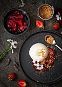 Tonka Bean Panna Cotta with Roasted Strawberries