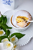 Sweet souffle with vanilla and powder sugar