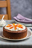 A blood orange cake with cream cheese