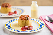 Sponge pudding with rhubarb and vanilla sauce