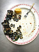Mussel shells and a lemon on a plate