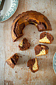 Wreath-shaped marble cake