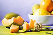 Cantaloupe on cutting board