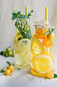 Zitrus-Water in Flaschen