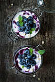 Blueberry and oat yoghurt