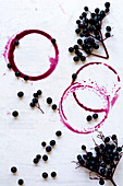 Elderberries and rings of elderberry juice