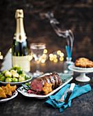 Roast beef with Brussels sprouts and champagne for Christmas