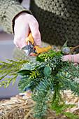 Adventskranz aus gemischten Koniferen-Zweigen binden