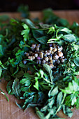Ingredients for salsa verde with capers