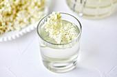 Homemade elderflower juice in a glass
