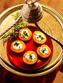 Stuffed apricots on a tray