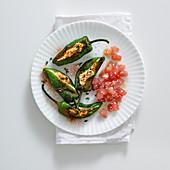 Stuffed peppers with sesame seed tuna fish