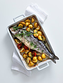 Bass with black olives, cherry tomatoes and potatoes