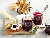 Liquid beetroot chutney with goat's cheese