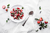 Strawberries with mozzarella, balsamico and mint