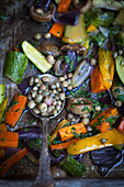 Warm vegetables salad with capers