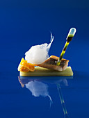 Fish with cucumber strips and carrot foam (molecular gastronomy)