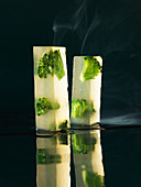 Clear broccoli soup cuboids (molecular gastronomy)