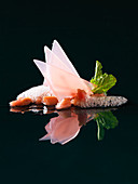 Rhubarb with strawberry-air (molecular gastronomy)