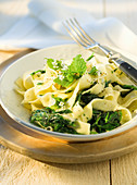 Fettuccine with gorgonzola and wild herbs