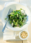 Lambs lettuce and dandelion salad with Roquefort and pine nuts