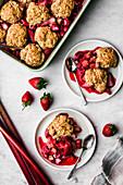 Vegan cobbler with rhubarb and berries