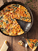 Tomato and Spinach Frittata with Fresh Parmesan