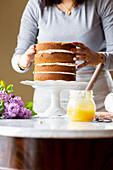 Woman preparing a cake