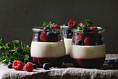 Homemade classic dessert Panna cotta with raspberry and blueberry berries and jelly in jars