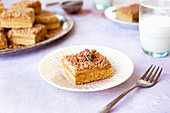 Shortbread Crumb Bars sprinkled with powered rose petals