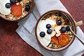 Healthy breakfast of bircher muesli, dried apricots, blueberries and youhurt in breakfast mugs