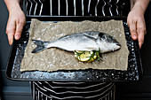 Person holding baking tray with fresh sea bream, slices of lemon and rosemary sprigs