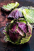 Still life, a fresh round red and green savoy cabbage