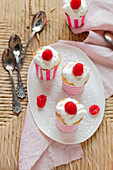 Angel food raspberry cupcakes