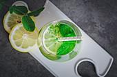 Detox lemonade with cucumber, lemon and mint