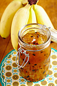 Banana and passion fruit jam in a jar