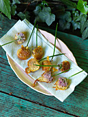 Deep-fried edible flowers