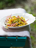 Pumpkin and zucchini salad with dahlias