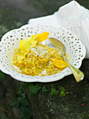 Risotto with evening primrose flowers