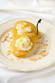 Poached pears with almond cream