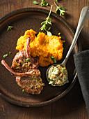 Lamb chops with a garlic and walnut sauce