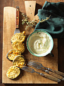 Fried aubergine slices with dip