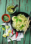Rice noodles with coriander pesto